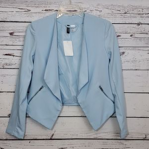 H&M Divided Baby Blue Waterfall Open Front Blazer